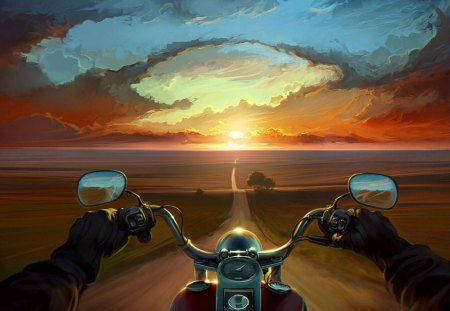 Biker on the ground - splendor, motorcycle, amazing, beautiful, road, great, colors, magical, awesome, open road, biker, sun, nature, fields, speed, horizont