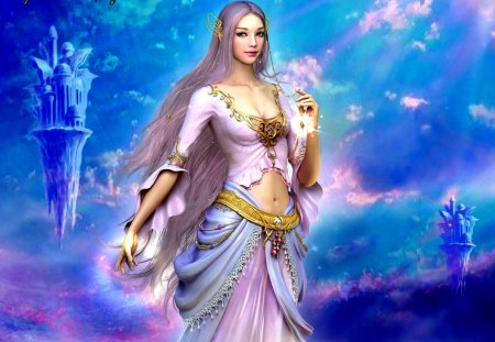 GORGEOUS GODDESS - shaiya, eun nee shoi, beauty, guidance of goddess, game wallpapers, etaine, light and darkness, flight, towers, fantasy, the goddess, sky, dreamworld, islands, dawn, flying islands, etain, sun, hyung jun kim, pink clouds
