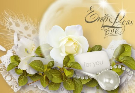 Endless Love - rose, flowers, fleurs, beads, bubble, romantic, leaves, lace, love, gold, spoon
