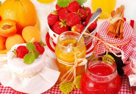 Summer delight - summer, delight, yellow, food, honey, strawberry, juice, fruits, red, gold, sweet, peach