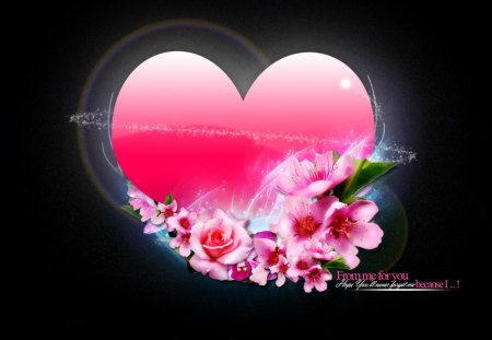 MESSAGE FROM THE HEART - pink, valentine, black, affection, love, roses, flowers, romance, hearts, friendship