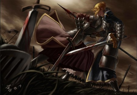 Fate Stay Night - warrior, fate stay night, saber, armor, blonde hair, anime, original, female, knight, weapons, anime girl, blood, sword, fantasy, fantasy girl
