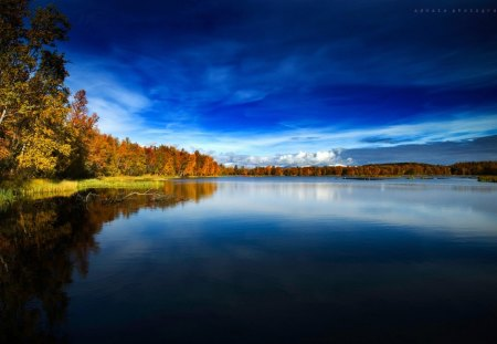 Blue Autumn In Norway - lake, photography, autumn, abstract, hd, seasons