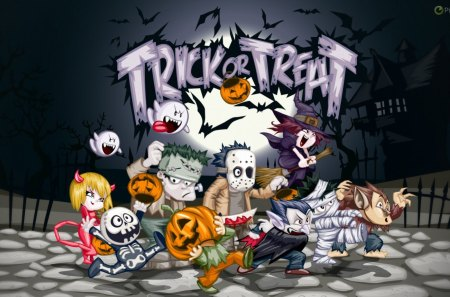 TRICKS OR TREATS - treats, halloween, tricks, customes