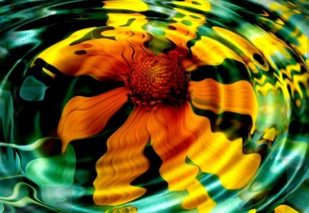 Sunflower Ripples - sunflower, ripples, yellow, flower