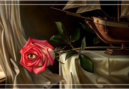 Rose Eye F5 - rose, abstract, painting, art, surreal, wide screen, surrealism, artwork, surrealist