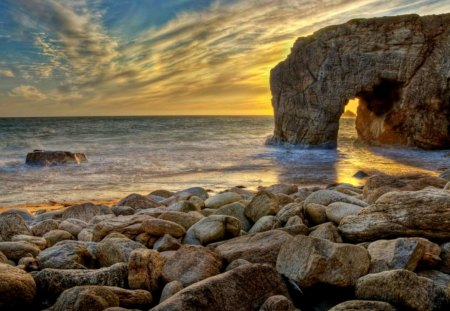 The Arch - splendor, beautiful, ocean waves, rocks, view, beauty, beach, seascape, sunset, stones, sunrise, arch, sky, waves, lovely, sunlight, sand, clouds, nature, sea, peaceful, ocean