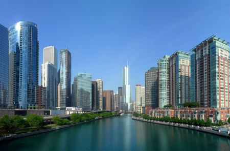 Chicago River - skyscrapers, beautiful, sky, usa, blue, chicago, architecture, nature, rivers