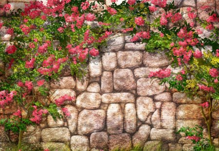 GARDEN WALL - stones, rocks, walls, gardens, building, pinks, artwork, flowers, blooms, structures