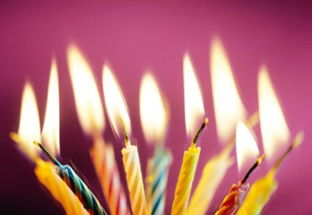 HAPPY BIRTHDAY CANDLES - candles, lights, flames, purple, celebrations, children, birthdays, kids, fire, parties, cakes
