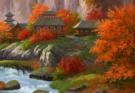 Autumn in Fantasy Japan - blue, forest, village, fall, yellow, water, japan, fantasy, houses, red, rocks, buildings, autumn, green, oriental, river, orange, asian, town