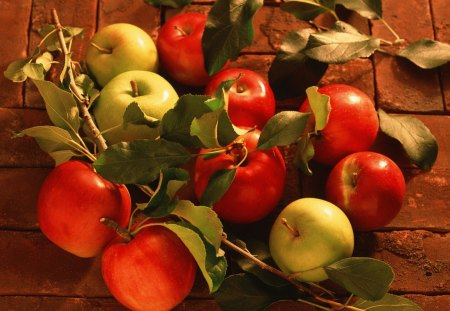 Apple Bouquet - wood, harvest, apples, fall, autumn, table, leaves, fruit, bounty, eating, cider, apple