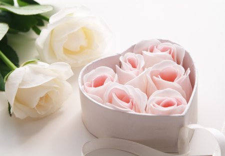 *Lovely roses* - roses, pink, lovely, heart, withe