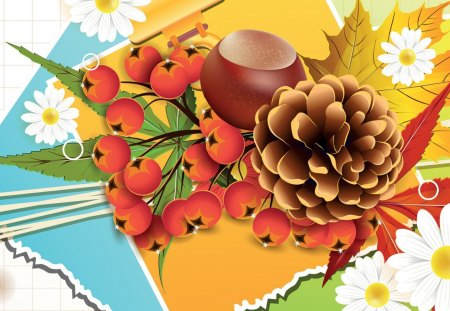Fall and Daisies - berries, flowers, daisies, fleurs, colorful, pine cone, nuts, collage, paper, abstract, bright, fall, autumn, acorn