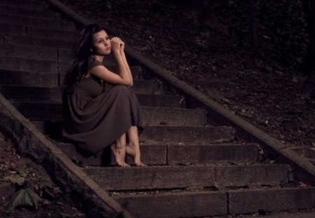 * You left me * - evening, without you, alone, face, autumn, sadness, stairs, girl, lonely, nature, street