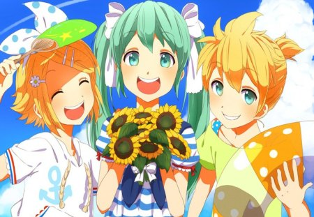 Miku,Rin & Len On Vacation!!! - blue eyes, flowers, boy, kagamine rin, short hair, hatsune miku, friends, beach, vacation, kagamine len, blue sky, together, summer, fun, long hair, cute, happy, vocaloid, girls, green hair, blonde