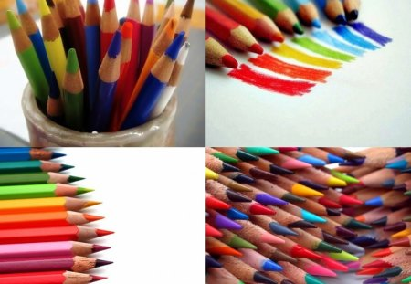 Color Pencils 1 - colors, abstract, drawing, collages