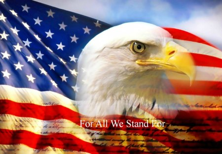 For All We Stand For - eagle, beautiful, abstract, art, america, digital, flag