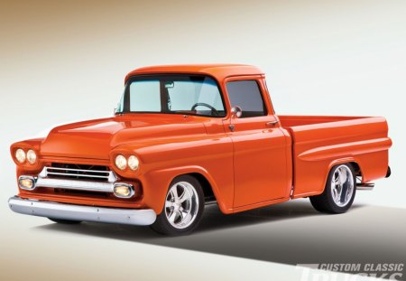 1959 Chevrolet Apache - gm, bowtie, orange, classic, truck