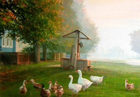 V.Palachev. Rustic morning - chicken, v palachev, grass, art, animal