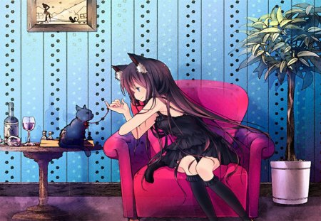 Playing w/Kitty - girl, nice, kitty, anime