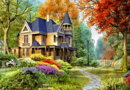 Countryside house - branches, table, painting, peaceful, nice, forest, trees, rest, lovely, coffee, villa, cottage, calm, tea, leaves, greenery, holiday, beauty, summer, relax, castle, path, bushes, colorful, countrysiousde, autumn, beautiful, flowers, alley, he