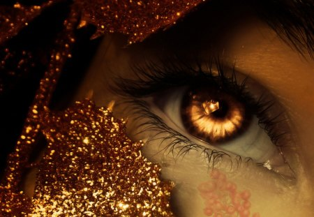 Eye - creative, lines, abstract, glitters, art, fire, eye