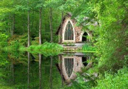 Charming Church Nestled in the Woods - lake, nature, church, reflection