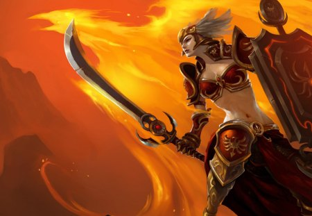 Leona - helmet, video games, warrior, games, leona, female, phoenix, orange background, weapon, league of legends, sword, shield, fire, armour