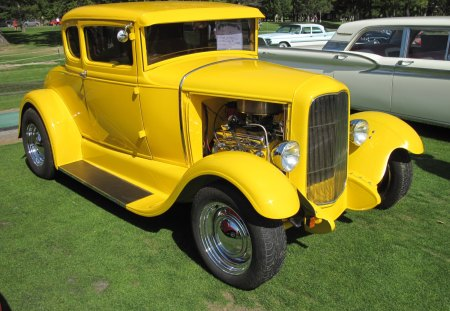 1931 Ford - Ford, green, Photography, black, headlights, grass, tires, yellow