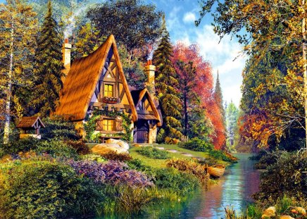 Fairytale cottage - fishing, flowers, lake, river, reflection, cottage, boat, house, grass, fantasy, fairytale, greenery, summer, colorgul, riverbank, trees, sky, shore, painting, clouds, cabin, stream