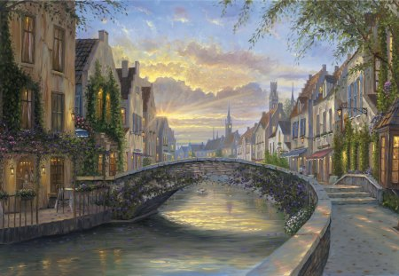 Reflection of Belgium - painted, landscape, art, beauty