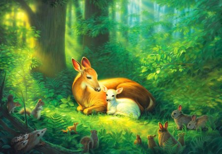 Precious - flowers, pretty, nice, forest, fantasy, tranquility, green, trees, painting, serenity, sunlight, child, birds, sunshine, sunny, roe, peaceful, animals, glow, beautiful, lovel precious, sun rays, magic, enchanted, grass, calm, miter, greenery, lovely, roedeer, deer, nature, bushes