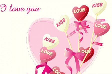I love you! - balloons, abstract, pink balloons, hearts, kisses
