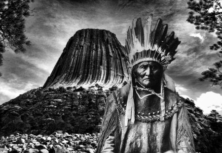 Geronimo art - geronimo, wallpaper, native american art, mountain, art, devils tower