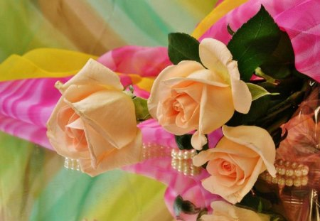 Roses and Romance - flowers, pearls, roses, romance, peach