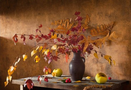 Still life - still, list, flowerpot, life, apple, table