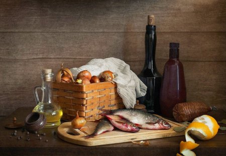 Still life - oliva, still, fish, wine, basket, limon, life, table