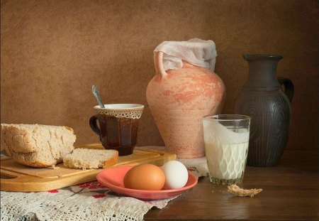 Still life - table, bread, egg, life, milk, still
