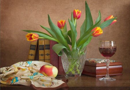 Still life - still, wine, life, tulips, apple, table