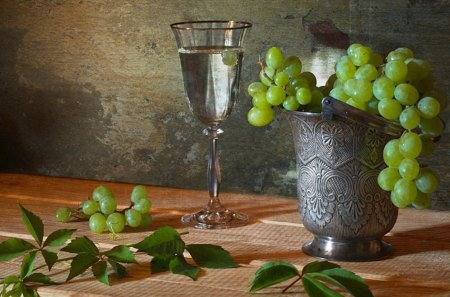 Still life - table, wine, life, grape, still