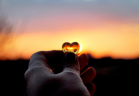 SHOW ME YOUR LOVE! - photo, heart, sunset, hand