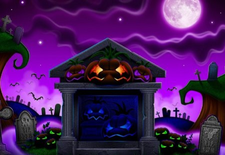 Halloween Night - spooky, purple, halloween, night