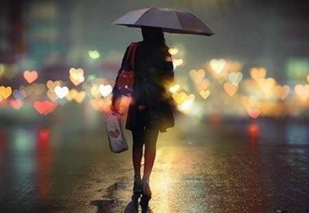 heart from light - woman, rain, umbrella, lights, hearts