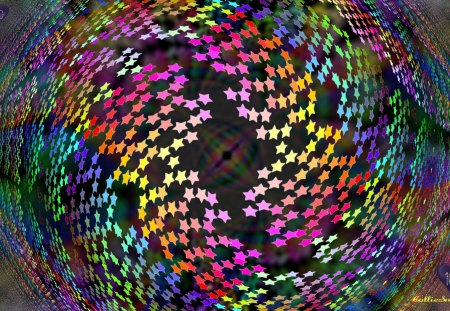 Allstar 100 color Wallpaper Celebration :D - co11ie, orange, pink, blue, fractal, stars, purple, blurring, golden yellow, violet, red, 100, green, allstar, one hundred, swirly, hearts, indigo, teal, celebrate