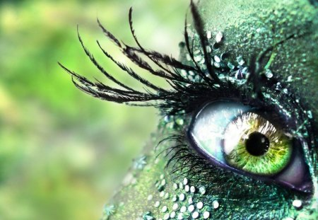 Green Eye - sparkles, eye, eyelashes, makeup, green, iris