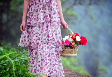 Flowers for You - flowers, petals, basket, pretty, for you, girl, female, purple, forest, green, rose, pathway, sweet, purple dress, beautiful, hand, romantic, path, beauty, hands, lady, woman, grass, woods, with love, colorful, colors, lovely, leaves, roses, nature, romance, dress