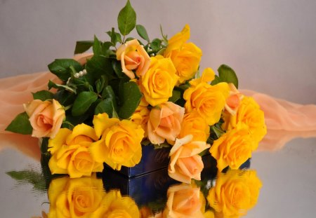 Bouquet of fresh roses - green, flowers, delicate, petals, orange, beautiful, freshness, pretty, lovely, harmony, yellow, fresh, nice, roses, bouquet, vail