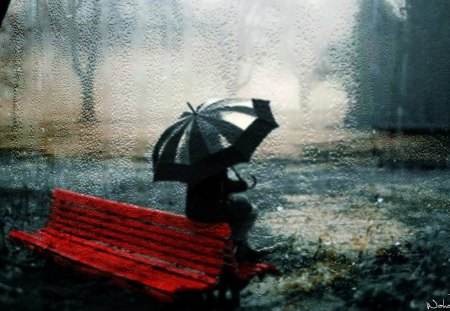 Waiting In Rain - rain, water, girl, smart aleck, wahab hameed, waiting, bench, umbrella