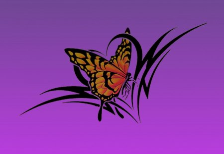 butterfly tribal - butterfly, tribal, tattoo, color, heart, sewenka